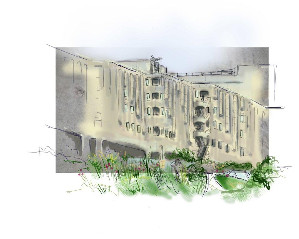 Roger Stevens Building, University of Leeds (Mixed media and digital drawing)
