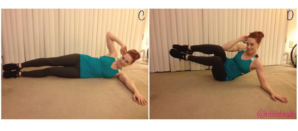 Option 2: medium intensity - bring both legs off the floor bending the knees, bringing your top elbow to top knee.