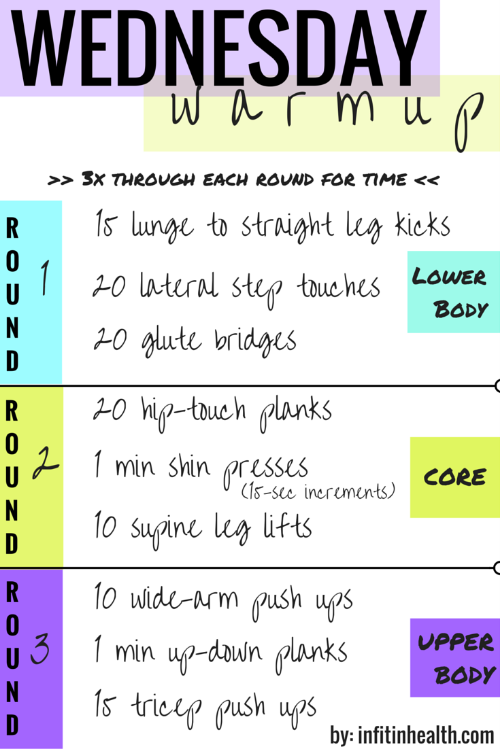 Wednesday Warmup workout
