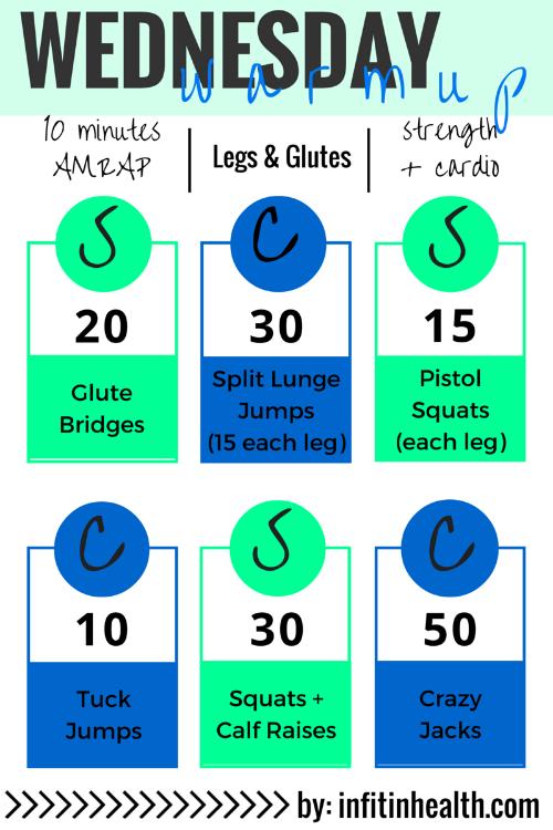 Wednesday Warmup: A Legs & Glutes + Cardio AMRAP