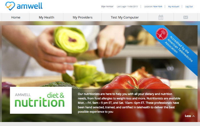Amwell Diet & Nutrition Homescreen