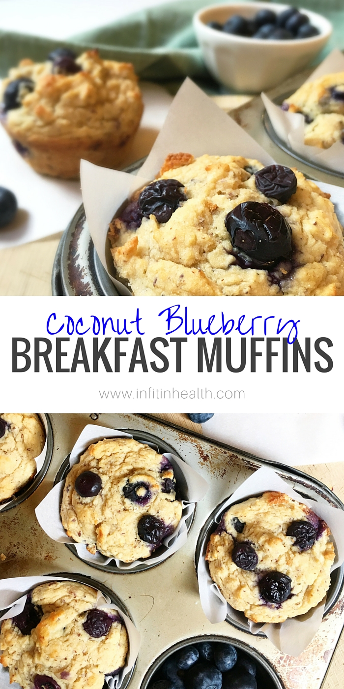High Fiber Coconut Blueberry Breakfast Muffins
