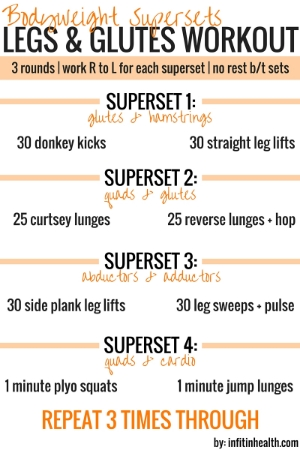 bodyweight supersets legs  glutes workout