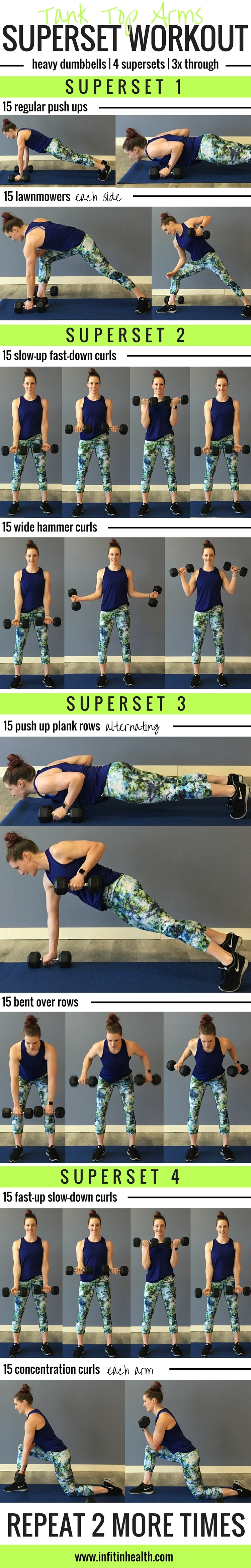 Tank Top Arms Superset Workout 3x3 Super Set Circuit Working It Out Pinterest