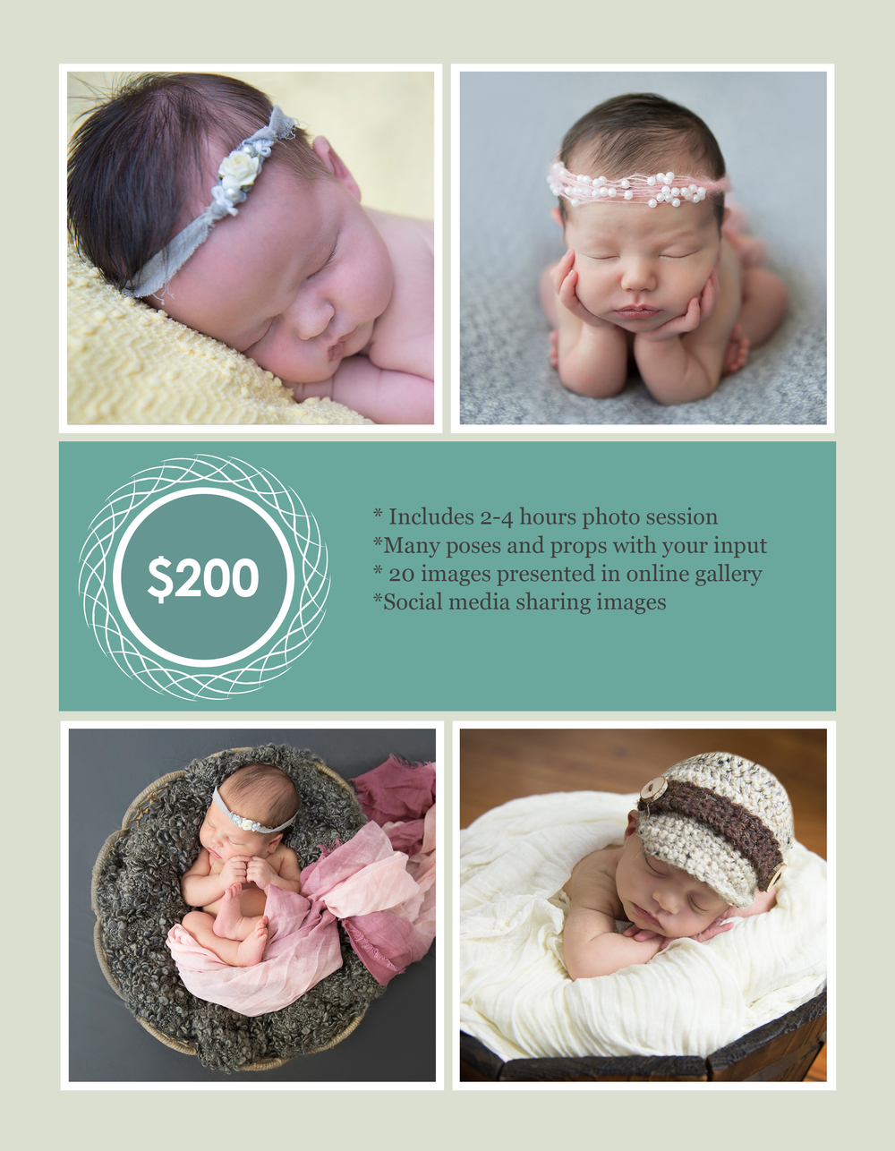 Newborn sessions occur anywhere from 5-14 days new.  Please contact us early to ensure availability.