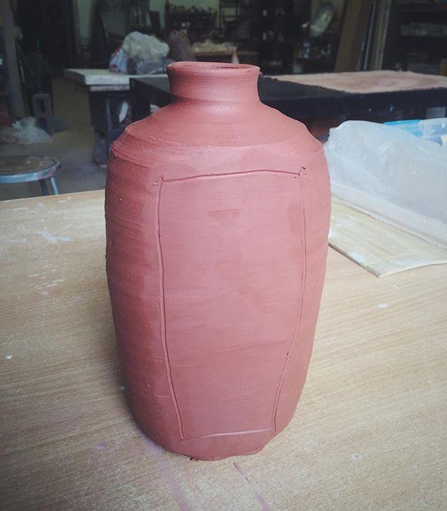 Modified wheel thrown vase 🌿#pottery #ceramics