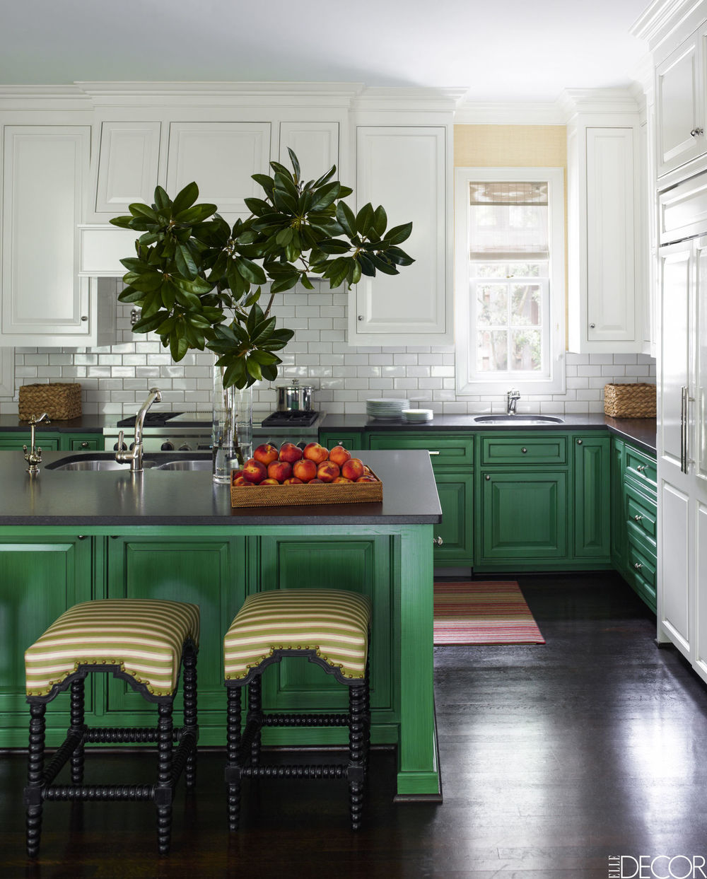 This kitchen feels like a green velvet cupcake with cream cheese frosting. Now that's friendly!   Design by J. Randall Powers, Elle Decor July 2016, Photo credit  Eric Piasecki