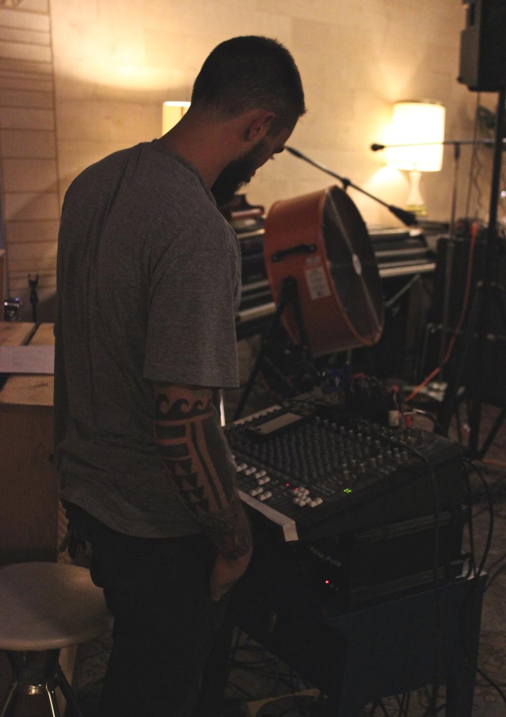 Dylan Curry runs sound
