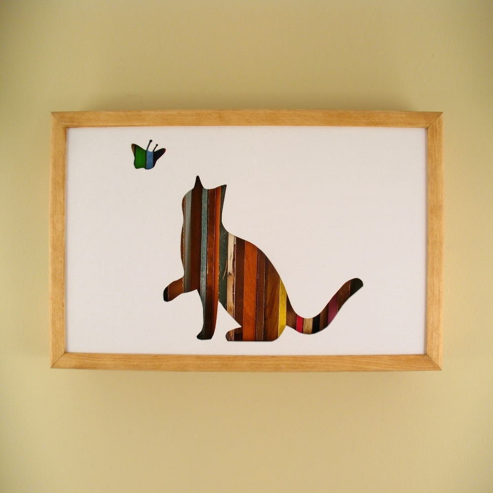 "Cat and Butterfly - 17"" x 11"" x 2"" - $175.00"