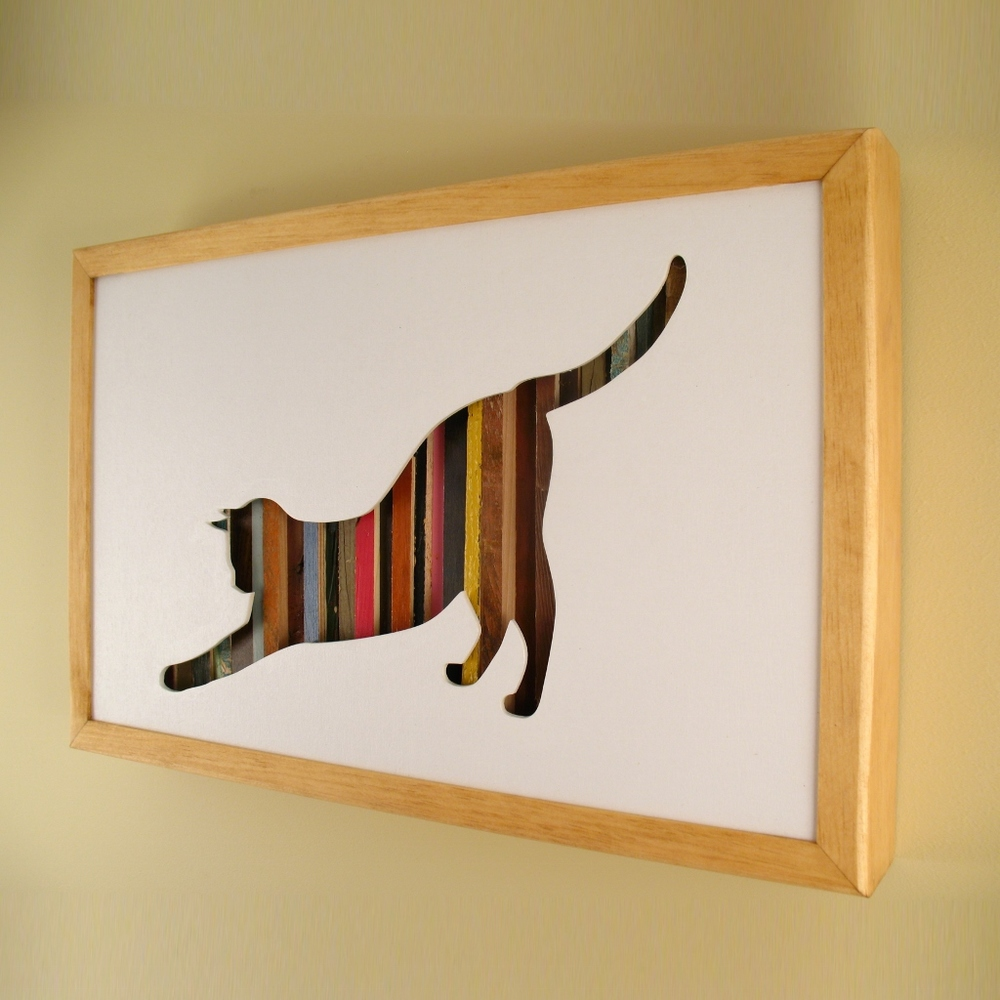 "Cat Stretching - 17"" x 11"" x 2"" - $175.00"