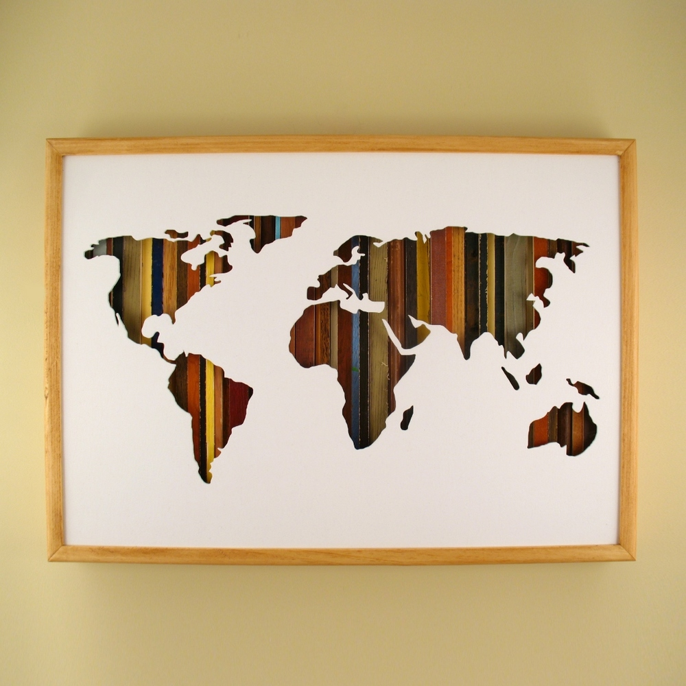 "World Map - 24"" x 17"" x 2"" - $305.00"