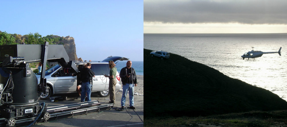 A Milo Moco system (Chrysler shoot)  in Malibu California, and a Jet Ranger Helicopter (Toyota 4Runner shoot).