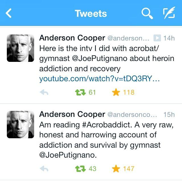 Anderson Cooper tweeted about Joe Putignano's memoir Acrobaddict