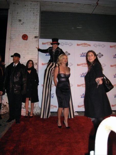 Joe Putignano (in stilts) with Britney Spears for Britney's Party.