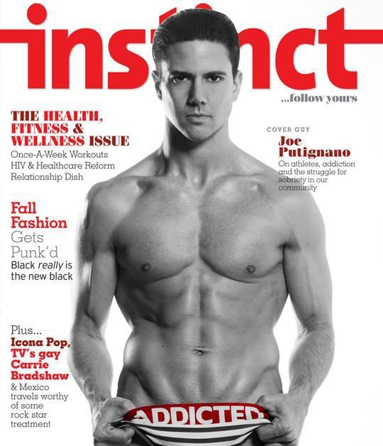 Joe Putignano on the cover of Instinct Magazine with a featured article about Acrobaddict