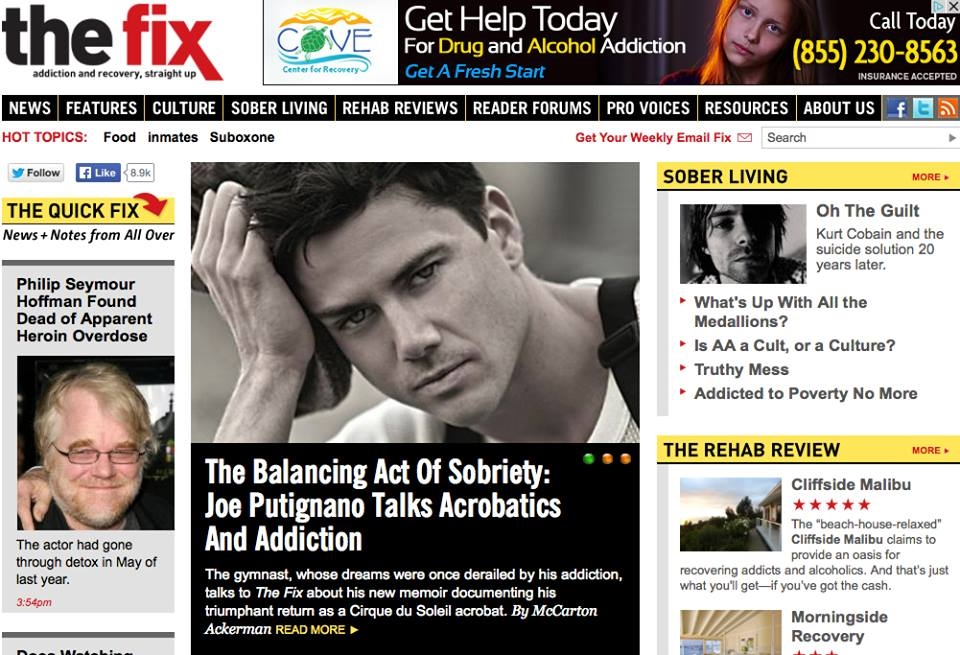 Joe Putignano on the Cover Page of TheFix.com, featured article and interview for Acrobaddict