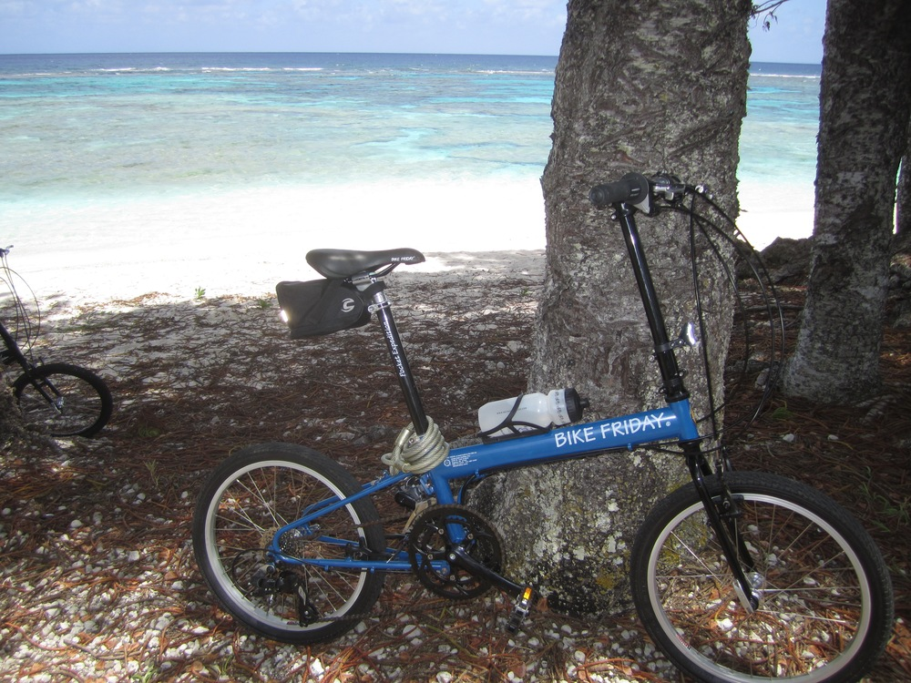 Folding bicycles are easy to pack and make getting around an island a breeze.