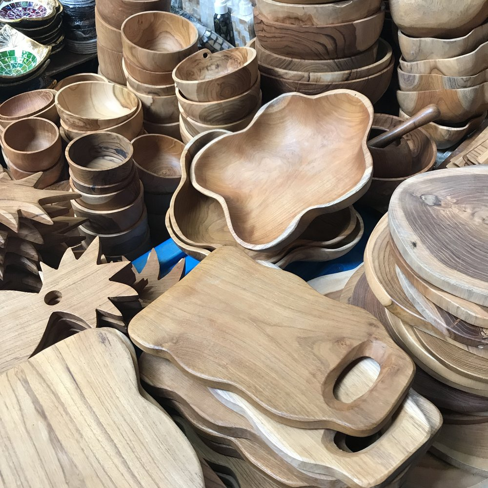 Wooden wares in display at the market in Ubud