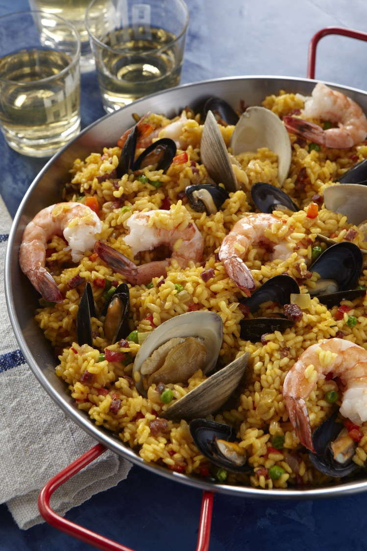 Paella  With Shellfish and Chorizo  Photo by Frances Janisch for    The Fire Island Cookbook