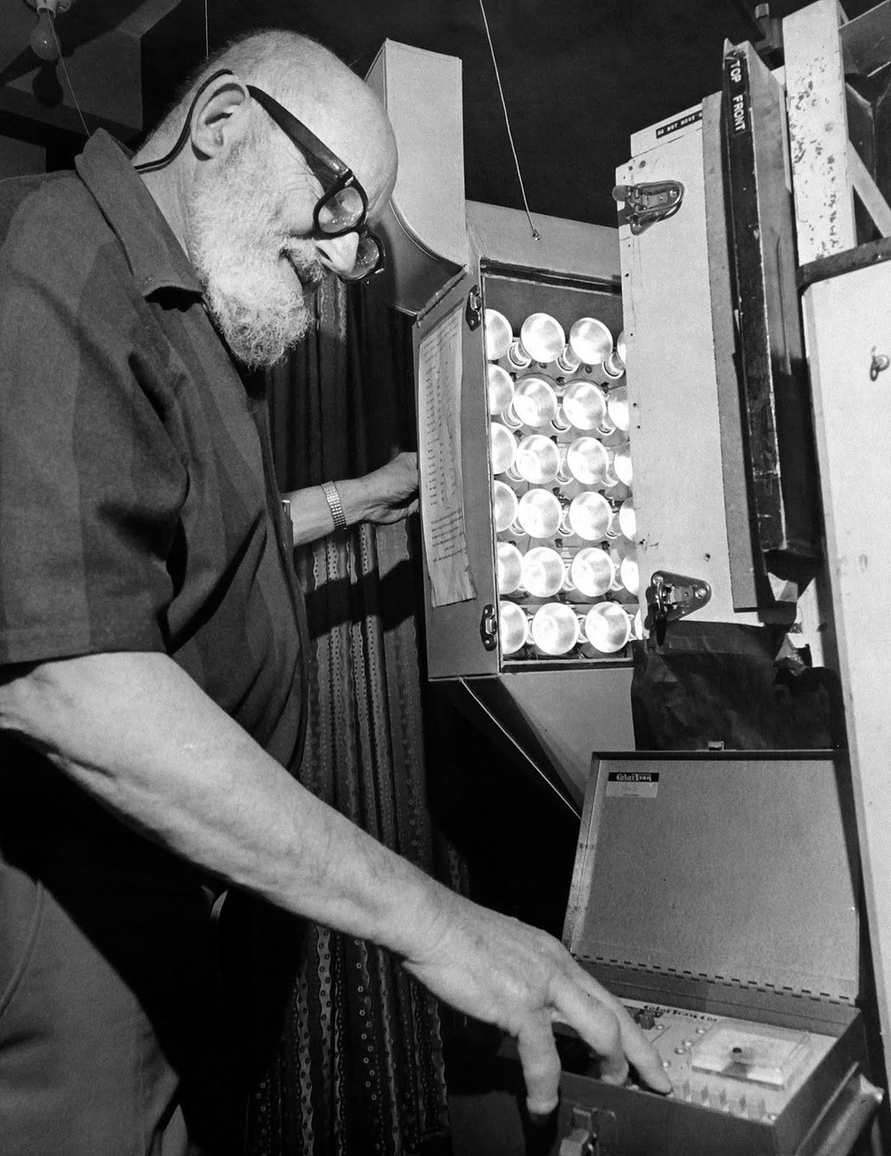 Ansel Adams in his personal darkroom