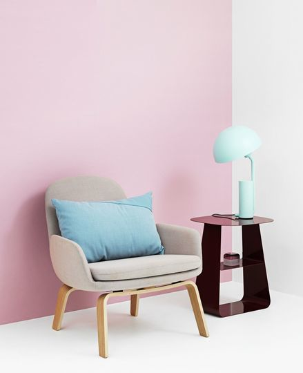 Fresh and cocooning design by Normann Copenhagen     'Edge  '    cushion, 'Era   '    armchair,    'Cap' table lamp and 'Stay' side table by Normann Copenhagen