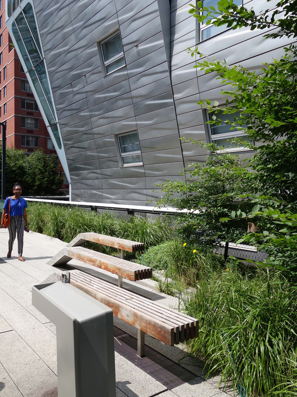 'Peel-up' seating and drinking fountains are a feature of The High Line.