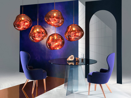 Tom Dixon is launching some exciting new products, including wingback chairs and 'hallucinogenic' globular lamps!