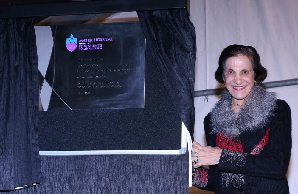 Dame Marie Bashir AD, CVO officially opening the Mater Hospital Extension