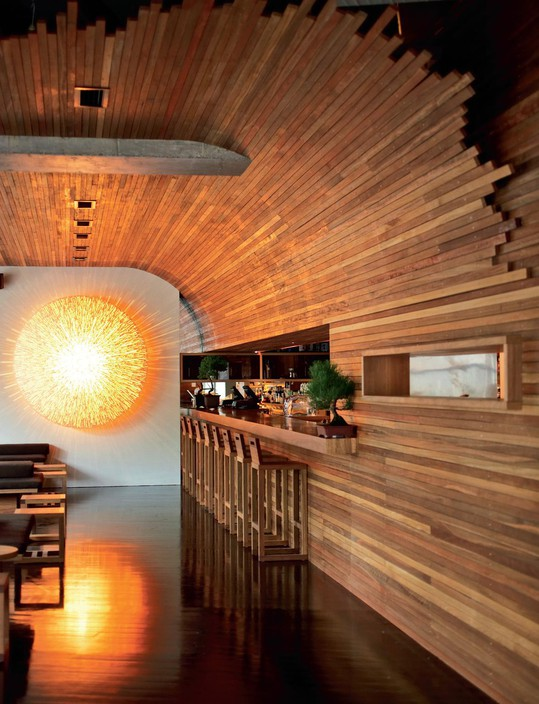 Toko  Japanese restaurant on Crown Street in Surry Hills has been a mainstay of dining in Sydney for many years. The timber clad interior with the feature light installation remains as current as ever in this simple and elegant interior.