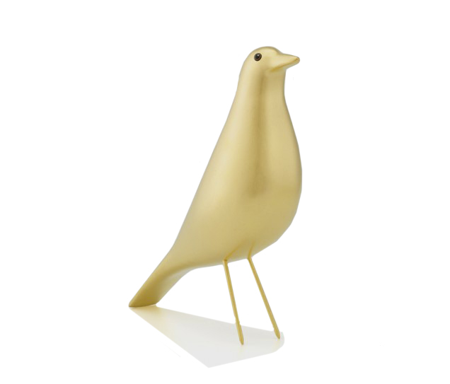 Carved from solid alder wood with a hand-gilded gold finish, the 'Limited Edtiion Gold Eames House Bird' has been crafted after an artefact of America folk art treasured by Charles and Ray Eames via  Living Edge