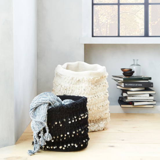 Beaded moroccan baskets add a textural eclectic touch.