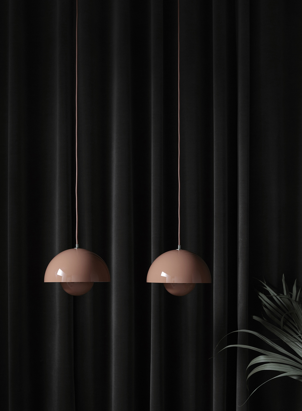 Perfectly retro Verner Panton's 1969 Flowerpot pendant in new blush colour.