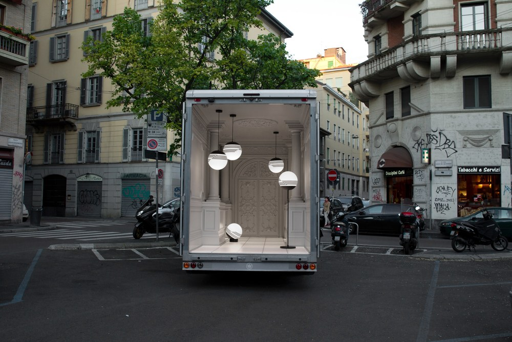 British designer Lee Broom took his new collection of lighting to the streets, creating an Italian palazzo (complete with Ionic columns and elaborate mouldings) in the back of a van you could spot zipping around the city for most of the week.