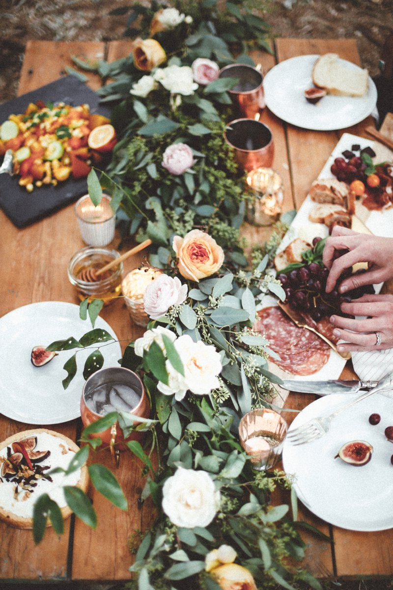 I love the addition of foliage to any table setting as it not only adds a layer of freshness to the table, but also to our sense of smell and to complement the food on offer.