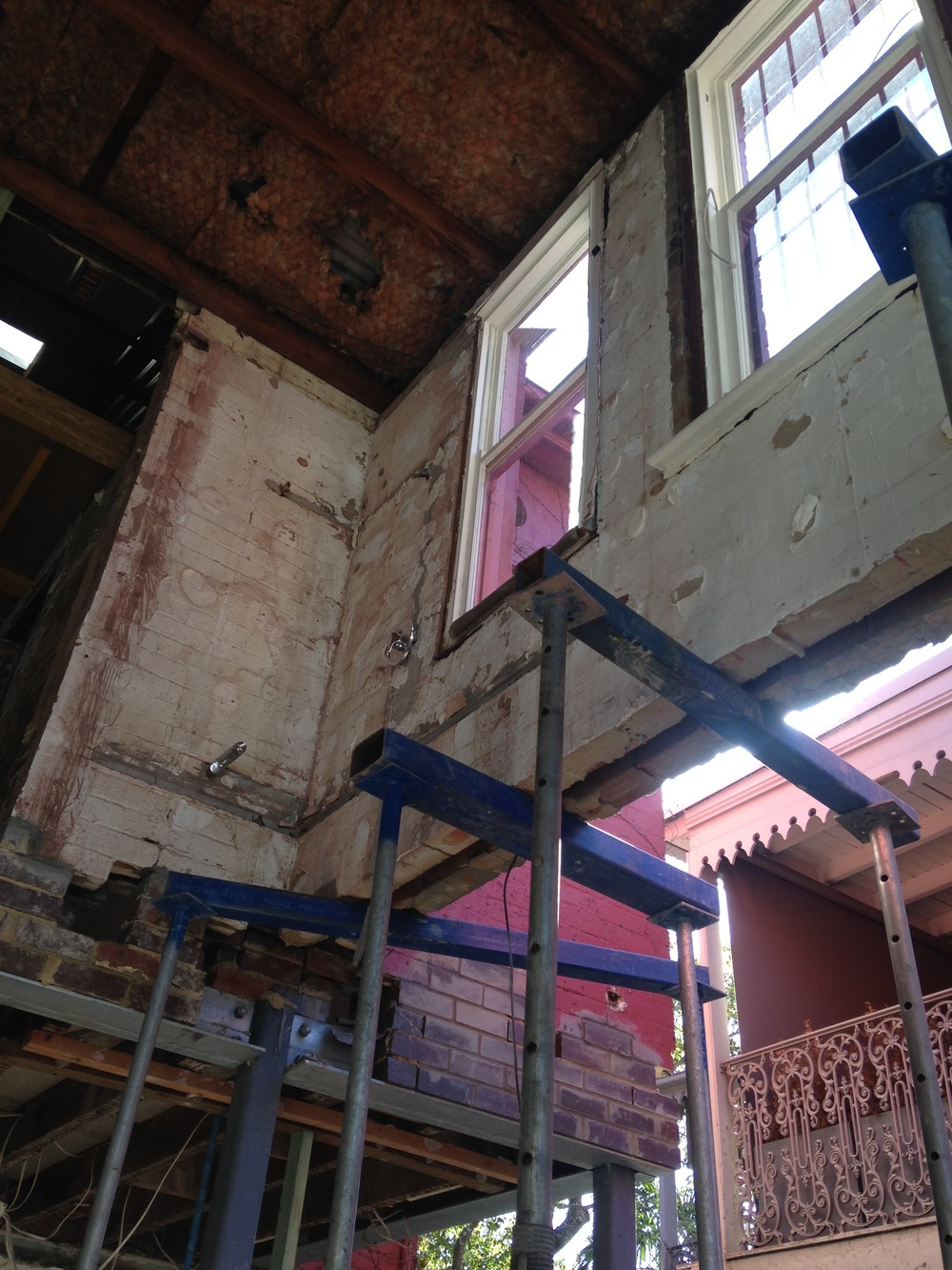 Steel pillars have been erected to hold up the rest of the house.