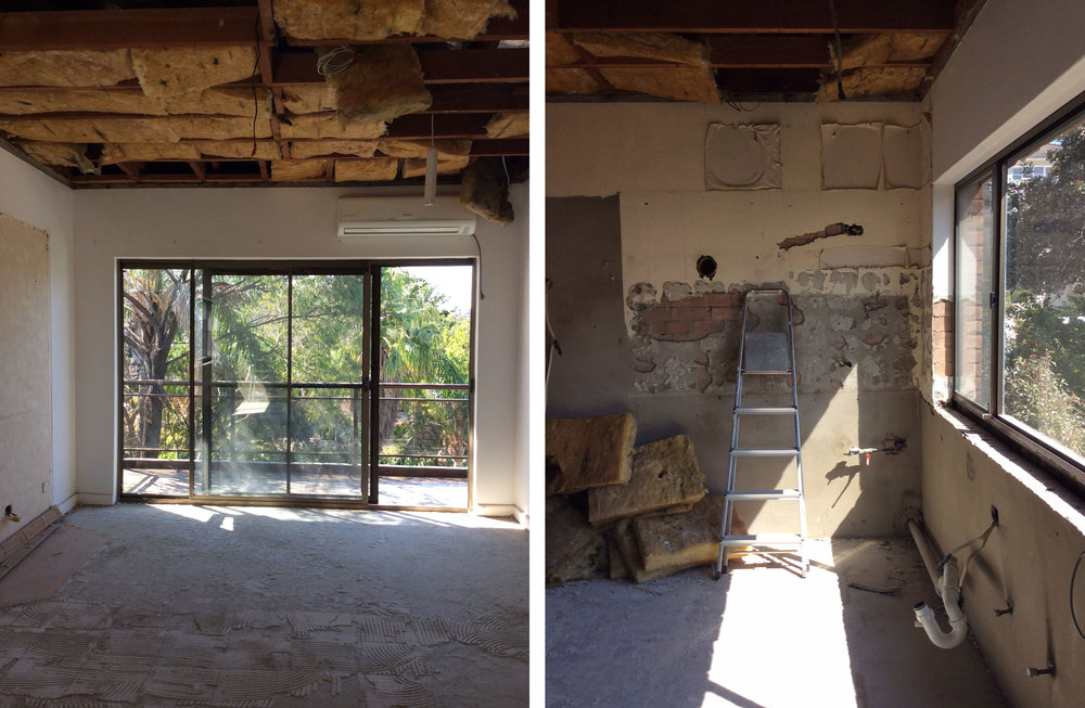 Goodbye old kitchen! The expansive area will soon feature a stunning island bench with stone waterfall edges.