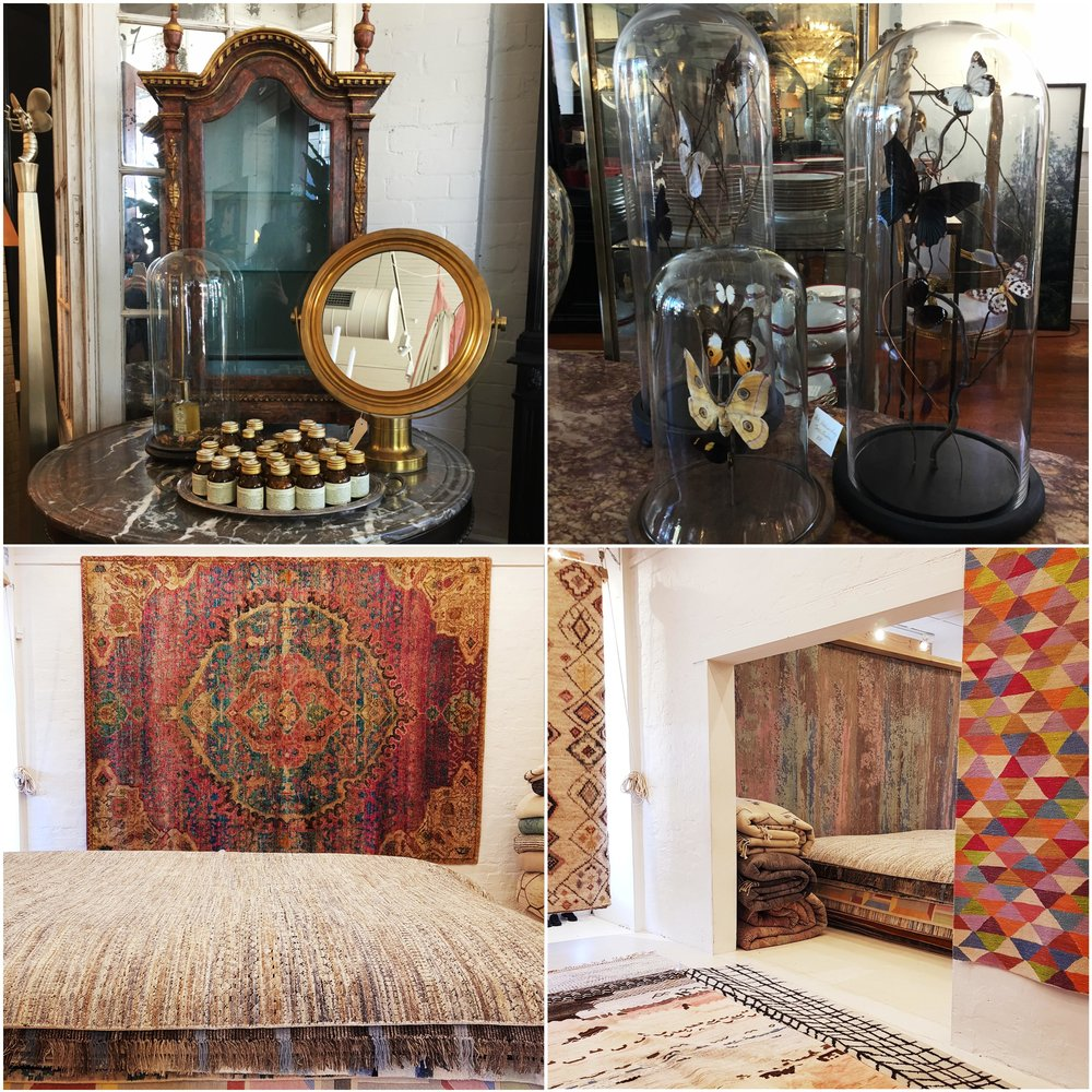 The top two images are snaps from  Franque , a quaint boutique that is filled with divine antiques from Europe and stunning Australian art.     The two bottom images are snaps from Loom Rugs, they offer an incredible collection of new and antique rugs that feature beautiful and unexpected colour combinations.