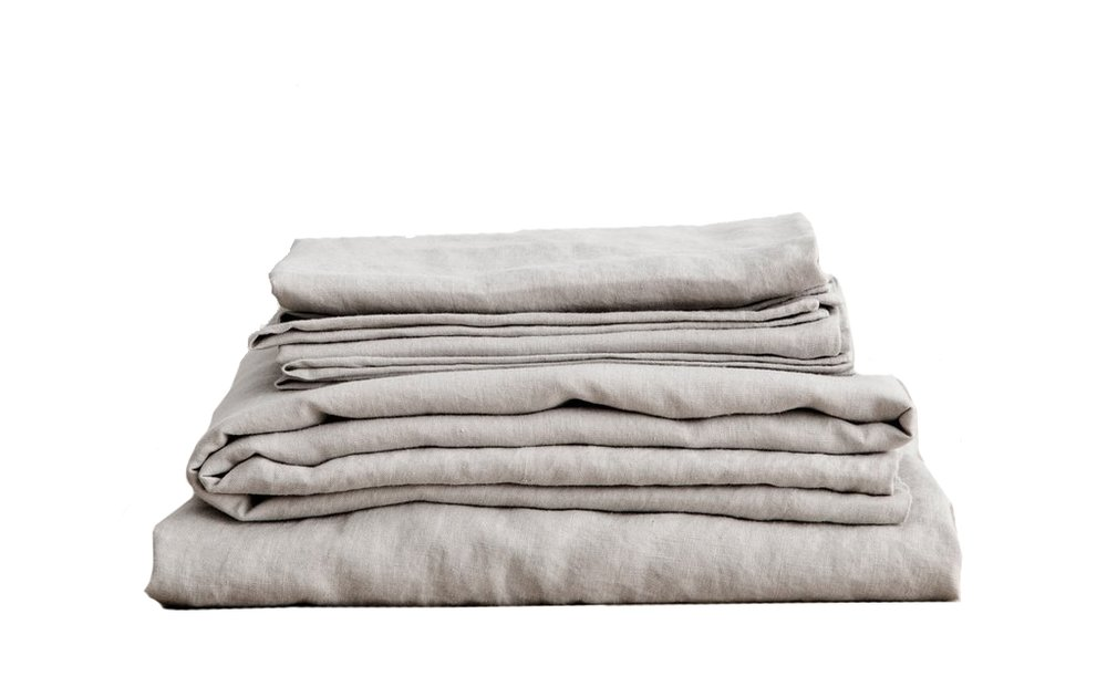Jess is looking forward to a sleep-in or two these holidays wrapped in beautiful linen sheets in shades of grey by  Cultiver .