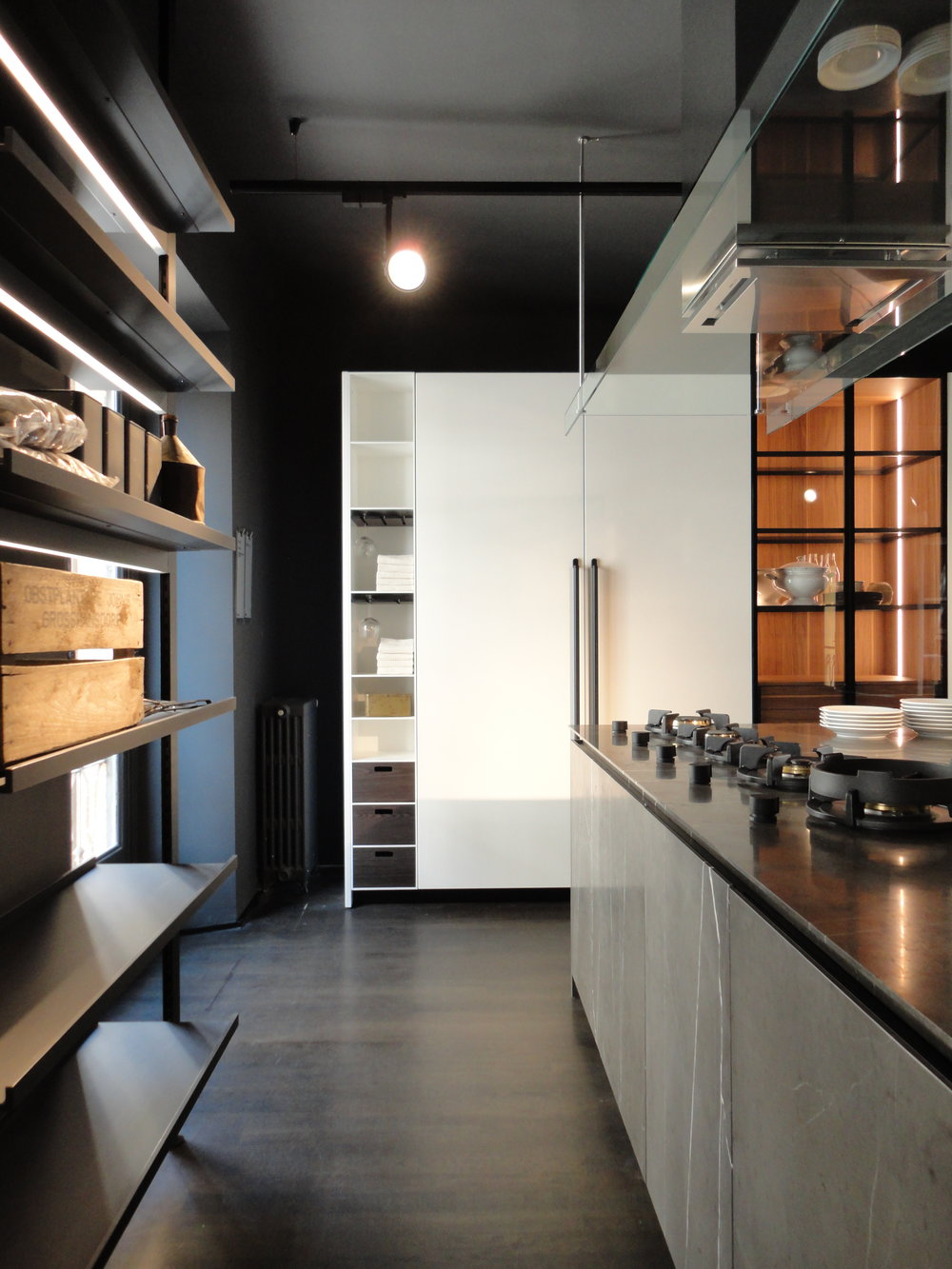 Balanced kitchen storage and display at Boffi