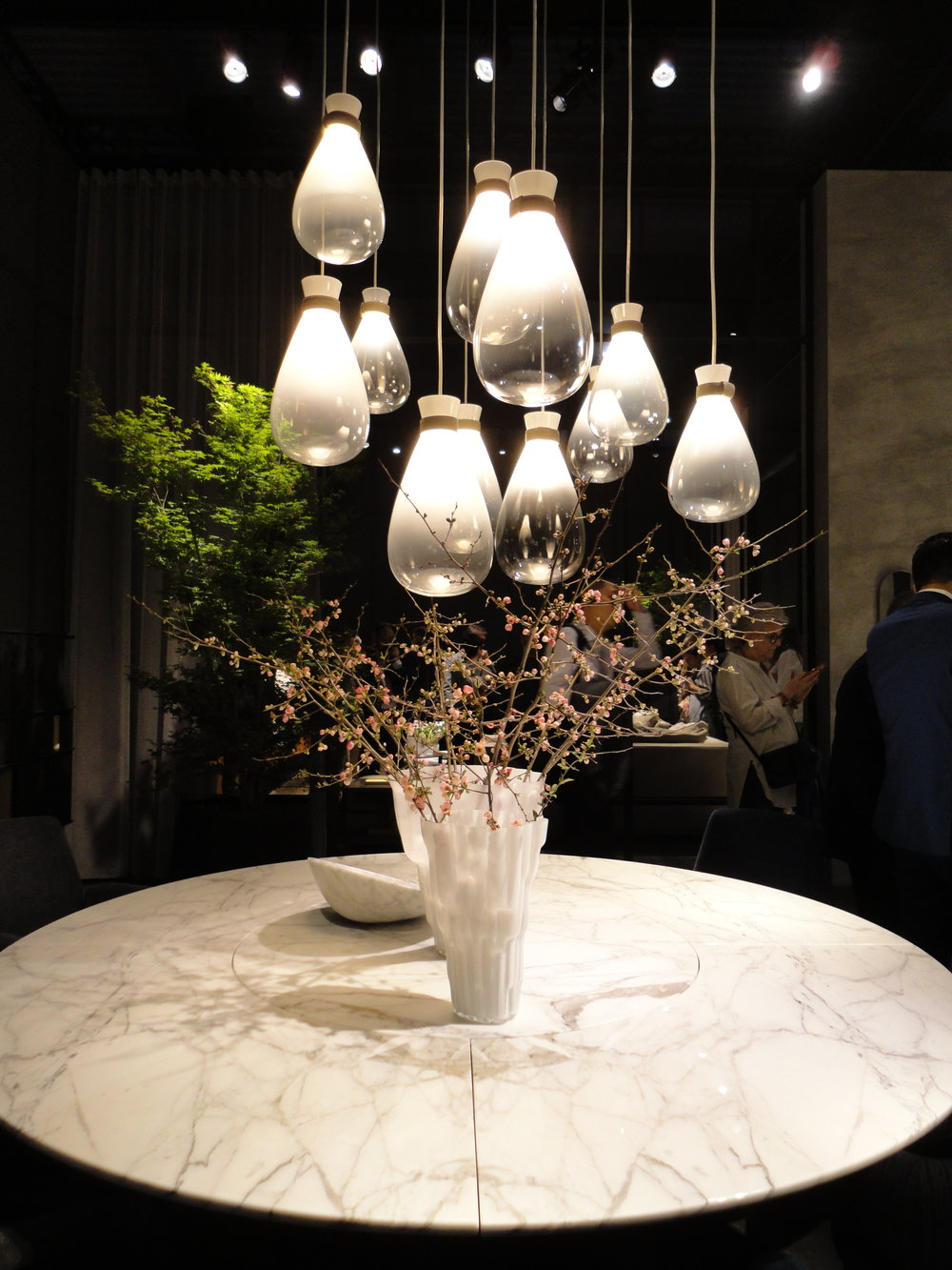 The 'Soffi' pendants by GamFratesi on display at Poltrona Frau
