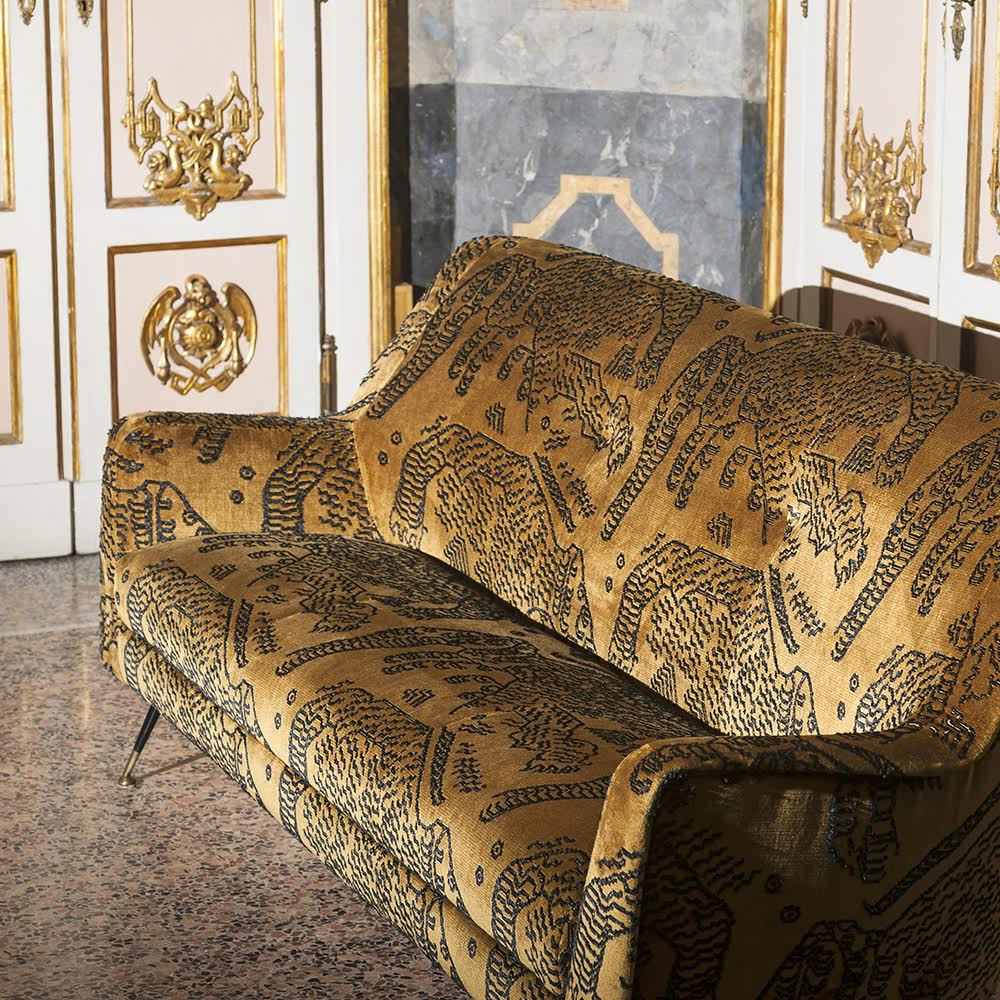 The golden ochre tones, luxurious textures and large abstract print of the 'Tiger Mountain' embroidered velvet by  Dedar  will inject warmth and Italian flair to any interior this winter.