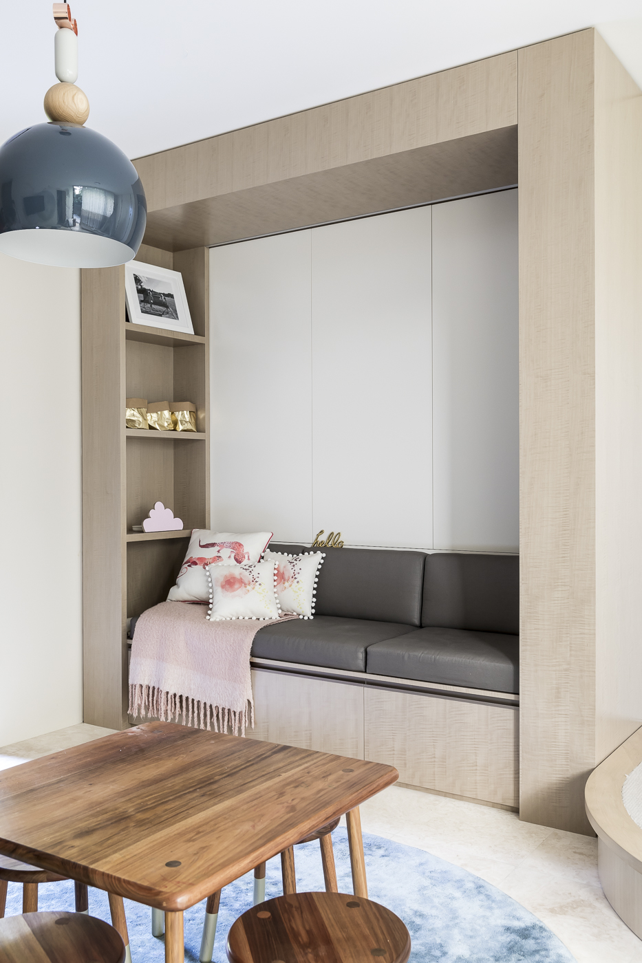 "Storage space hidden into the joinery provides a clever way to hide ""playroom mess"" in our    Hunters Hill House    project."