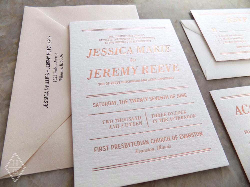 Modern + Romantic Wedding Invitations with Rose Gold Foil by Hello Gypsy | © Hello Gypsy