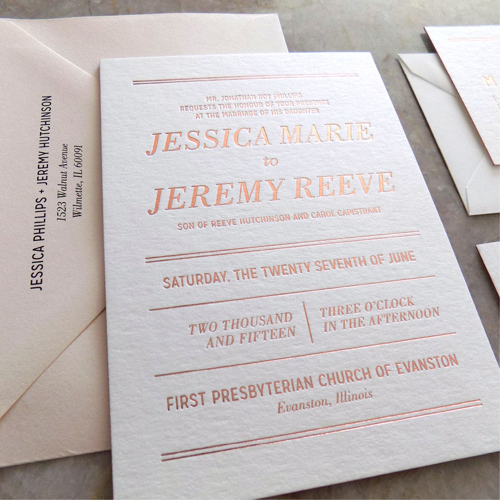 modern romantic wedding invitations with rose gold foil by hello gypsy hello gypsy - Rose Gold Wedding Invitations