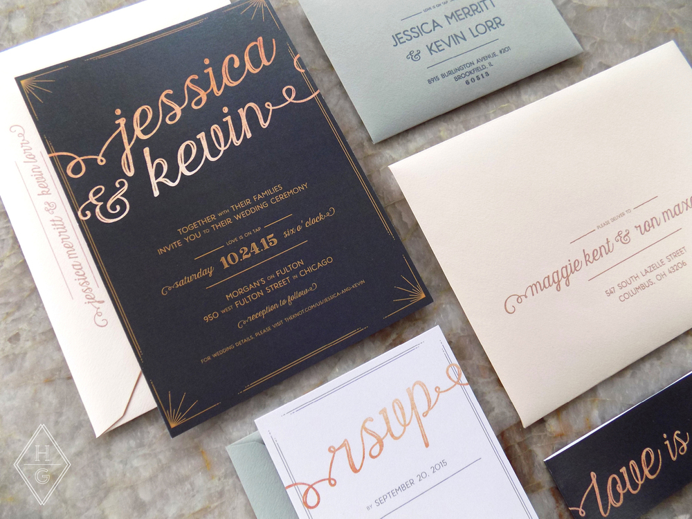 Rustic + Romantic City Loft Wedding Invitations with Rose Gold by Hello Gypsy | © Hello Gypsy