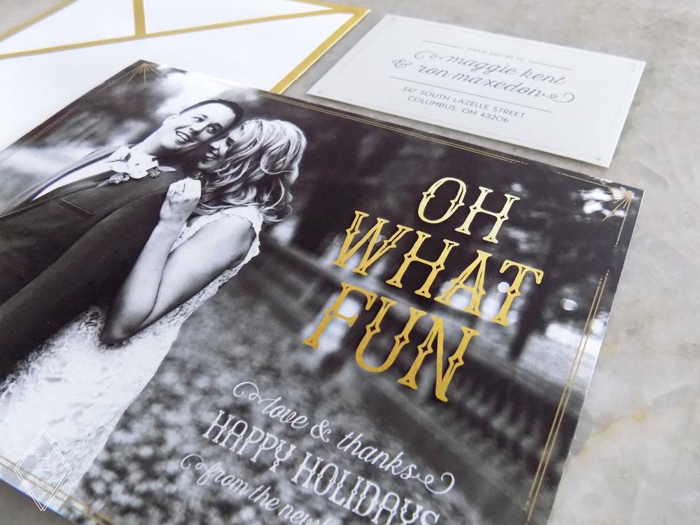 Black + Gold Newlywed's First Holiday Card by Hello Gypsy   © Hello Gypsy