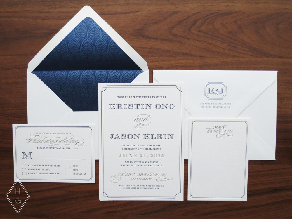 Sophisticated + Vintage Oceanside Letterpress Wedding Invitations by Hello Gypsy | © Hello Gypsy