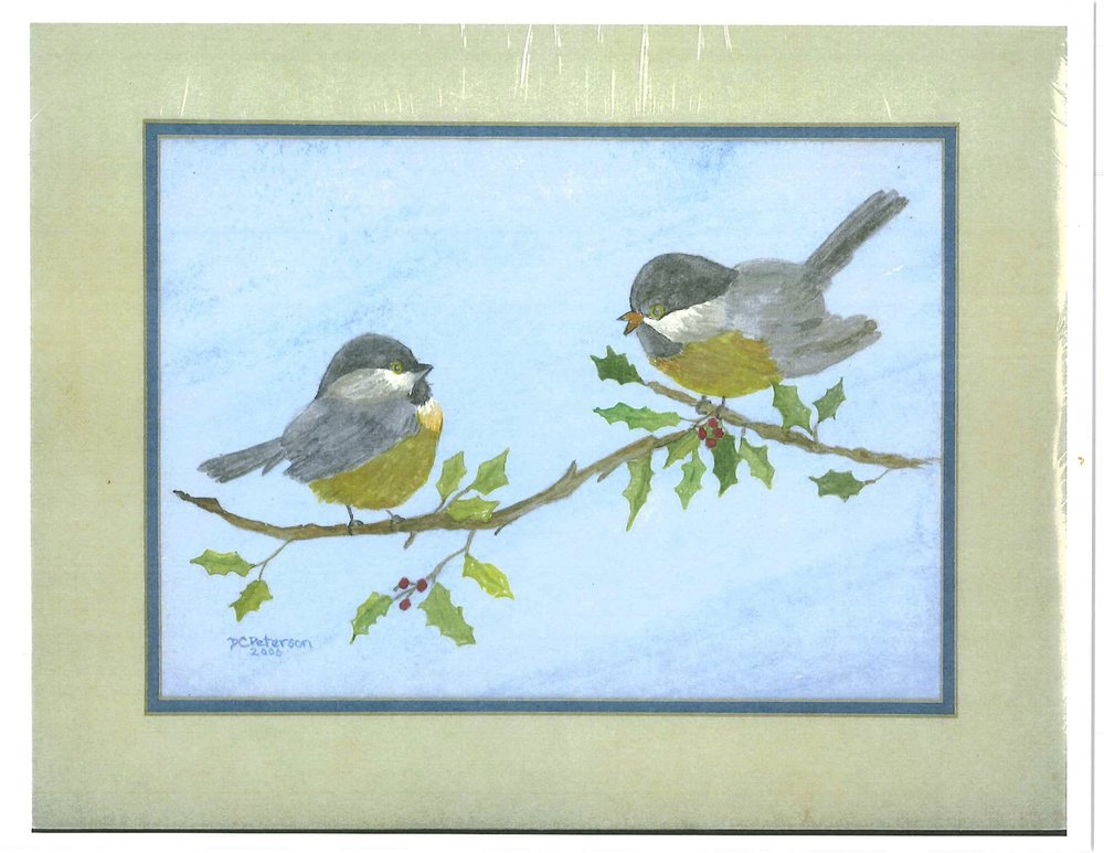 Mother and Baby Chickadees on a Branch