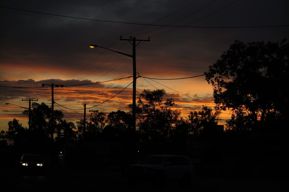 Sunset in Lightning Ridge, NSW. Just prior to an outdoor screening of Wide Open Sky.