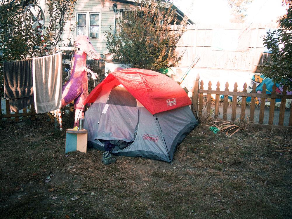 Spent a few days camping in the backyard of a hostel.Bon Paul & Sharkey Hostel. Asheville, NC.